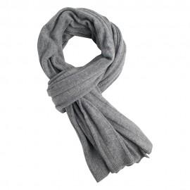 Lysegråt strikket halstørklæde i cashmere