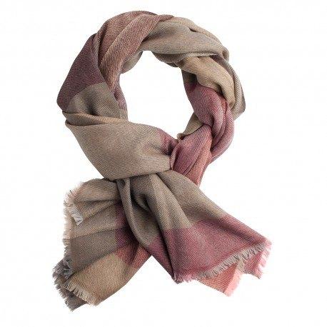 Storternet sjal i uld og cashmere i rød, brun, beige og grå