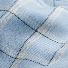Blåt ternet halstørklæde i cashmere og uld