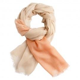 Tofarvet pashmina sjal i fersken og cremefarve