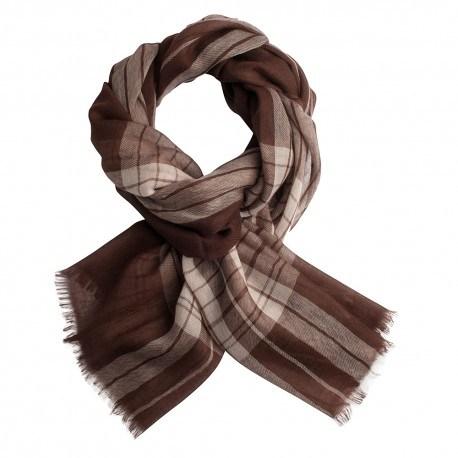 Skotskternet pashmina sjal i chokolade- og cremefarve