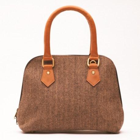 Brun håndtaske i læder og uld