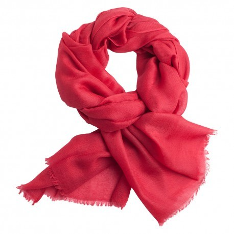 Tranebærrødt pashmina sjal i 2 ply twill