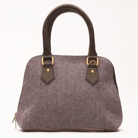 Grå/blå håndtaske i læder og uld