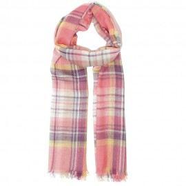 Pink ternet tørklæde i lambswool/silke