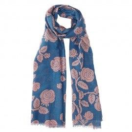 Blåt tørklæde i silkeblanding med blomster
