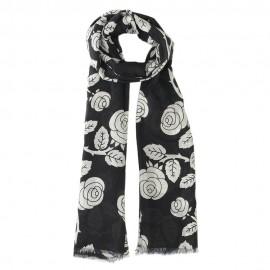 Sort tørklæde med blomsterprint i silke/modal