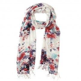 Tørklæde med blomsterprint i rød og blå