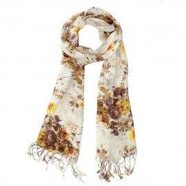 Tørklæde med blomsterprint i jordfarver