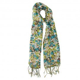 Blomstret tørklæde i grøn og blå