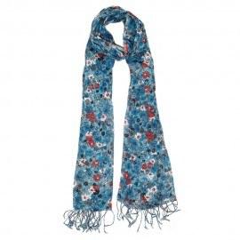 Blåt blomstret tørklæde
