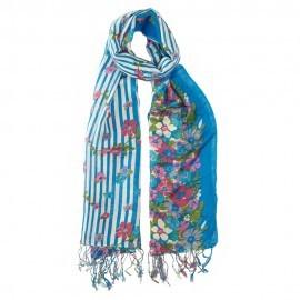Blåt tørklæde i silke og uld med blomsterprint