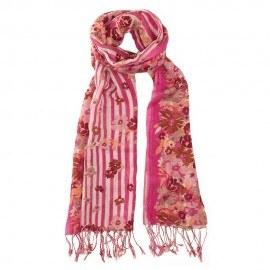 Rødt tørklæde i silke og uld med blomsterprint