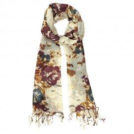 Uldtørklæde med blomstertryk i gyldne farver