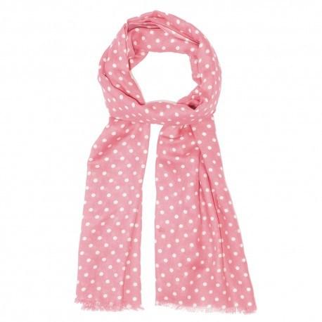 Pink tørklæde med hvide prikker