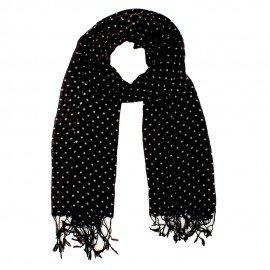 Sort tørklæde med hvide prikker i uld