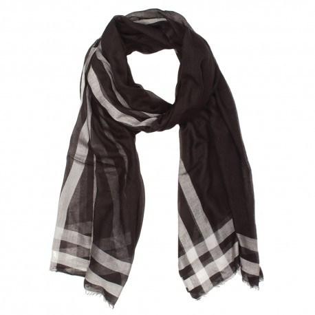 Sort og hvidt tørklæde i cashmere/modal
