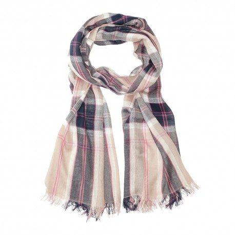 Skotskternet bomuldstørklæde i beige/blå