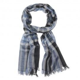 Blåt skotskternet bomuldstørklæde