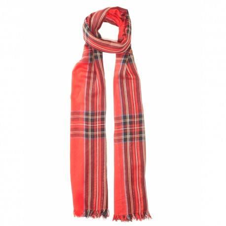 Rødt skotskternet bomuldstørklæde