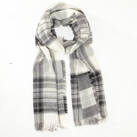 Sort og hvidt tørklæde i ren merino uld