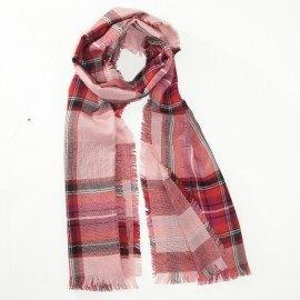 Rødt tørklæde i ren merino uld