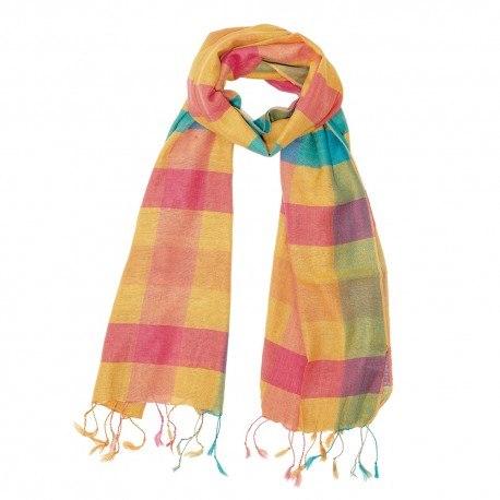 Ternet silketørklæde i gylndne farver