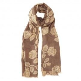 Blomstret tørklæde i silkeblanding i brun