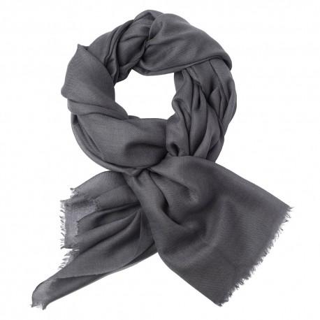 Mørkegråt dobbelttrådet twill pashmina sjal