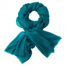 Petroleums blåt dobbelttrådet twillvævet pashmina sjal