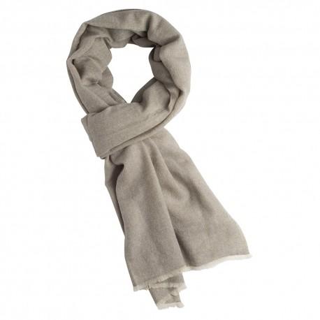 Cashmere tørklæde i lysegrå melange