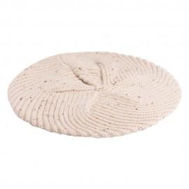 Beige baret med nister i cashmere strik