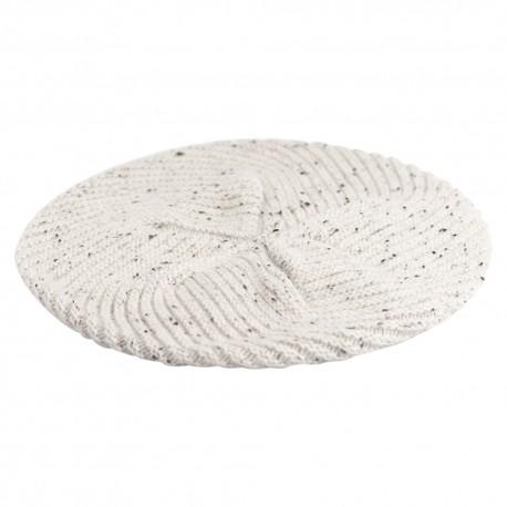 Hvid beret med nister i cashmere strik