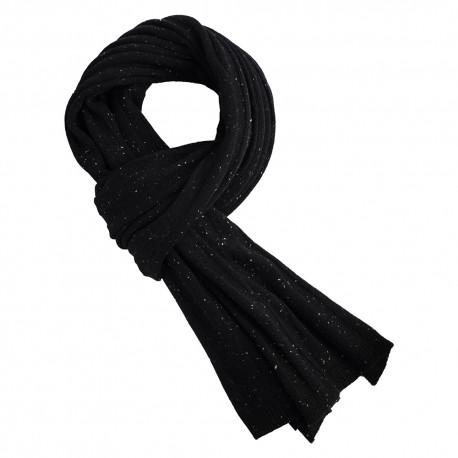 Sort strikket cashmere halstørklæde med nister